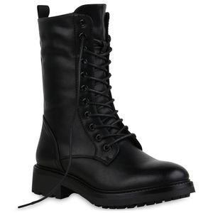 Mytrendshoe Damen Leicht Gefütterte Schnürstiefel Profil-Sohle Stiefel Schuhe 835473, Farbe: Schwarz, Größe: 37