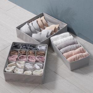 3er Pack Unterwäsche Organizer Unterwäsche Aufbewahrungsbox  BH Stoff Socken Box Aufbewahrungsschublade Teiler Faltbar-Grau