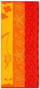 Strandtuch XXL 100% Baumwolle, 70x180 cm, orange/gelb/rot mit Seesterne und Muscheln