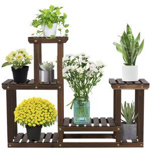 Yaheetech Pflanzenregal Holz, Blumenregal mit 4 Ebenen, Blumenständer Garten, Pflanzentreppe mehrstöckig, für Indoor Balkon Wohzimmer Outdoor Dekor 95 x 25 x 73 cm
