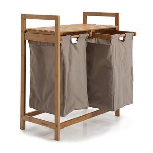 Lumaland Wäschekorb aus Bambus, mit 2 ausziehbaren Wäschesäcken, ca. 73 x 64 x 33 cm Grau