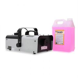 Beamz S1200 1200 Watt Nebelmaschine mit Fernbedienung & 5 Liter Nebelflüssigkeit pink (70m³/min Nebelausstoß, 4 Meter Ausstoß-Reichweite, 5 Minuten Aufheizzeit) schwarz