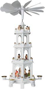 Brubaker Weihnachtspyramide Holzpyramide - Weiß - 4 Etagen - 60 cm Höhe - handbemalte Figuren