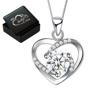 Damenkette Herzkette  925 Sterling Silber mit Zirkonia Kette Herz Anhänger für Frauen Damen Gravur Box K817 V8 42cm