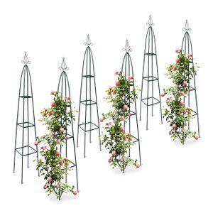 relaxdays 6x Rankstab Kletterhilfe Rankhilfe Obelisk Rankgitter Garten Rosenbogen Metall