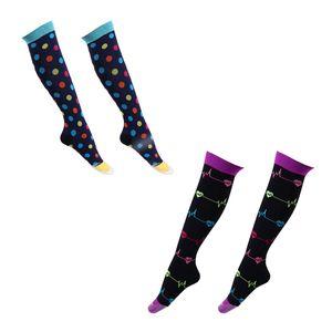 2 Paar Kompressionsstrümpfe Kompressionssocken Compression Socks Strümpfe Kompression Laufsocken Thrombosestrümpfe für Damen