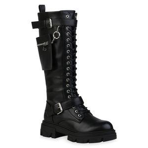 Mytrendshoe Damen Stiefel Leicht Gefütterte Plateaustiefel Taschen Schnürer 835920, Farbe: Schwarz, Größe: 38