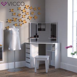 VICCO Eckschminktisch ARIELLE Weiß - Schminktisch Kosmetiktisch Frisierkommode Frisiertisch Schminkspiegel