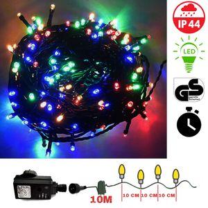 200 LED Lichterkette bunt grünes Kabel TimerWeihnachten Weihnachtsbeleuchtung