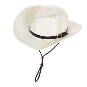 Faltbarer Herren Damen Outdoor Strohhut Fasching Cowboyhut Westernhut Sonnenhut Sommerhut Wide Rand Strandhut Mütze Farbe Weiß