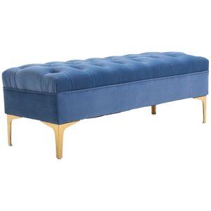 HOMCOM Sitzbank, Bettbank, Schuhbank mit erhöhten Beine, Schlafzimmer, Samt Blau 118 x 45 x 42 cm