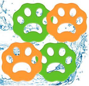 4 Stück Tierhaarentferner für Wäsche Wäschehaarfänger Waschmaschine Flusenentferner Wiederverwendbarer Tierfellwäscher Fänger Haarentferner für Wäsche (Green-orange)
