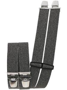 Hosenträger mit 4 extra starken  Clips uni Farben, Farben:grau meliert