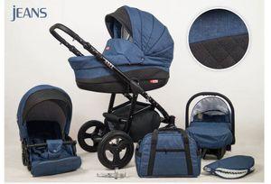 Kinderwagen Axel, 3 in 1 - Set Wanne Buggy Babyschale Autositz Jeans