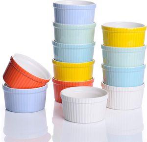 LOVECASA Förmchen Porzellan, 12 teilig Muffins Förmchen Set Schälchen für Soufflé, Creme Brulee, Fondants, Dessert und Obst, Bunt