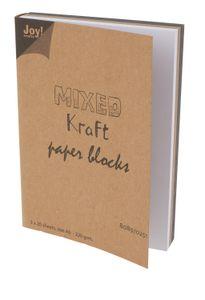 """Kraftpapier-Block """"Mixed"""", 3 x 20 Blatt DIN A6"""