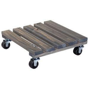 WAGNER Pflanzenroller VINTAGE 29 x 29 x 8,5 cm, außen & innen, Massivholz geriffelt, grau, Tragkraft 150 kg, EU Ware - 20085401