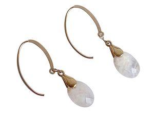 Damen Ohrringe Vergoldet Mondstein Facettiert Weiß 2 cm