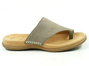 Gabor 03-700 Schuhe Damen Pantoletten Zehentrenner Nubuk, Schuhgröße:41, Farbe:Grau
