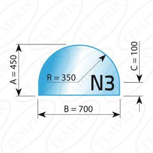 Kaminbodenplatte Transparent Form N3  450 x 700 x 6mm - Version ECO (Tragkraft bis 550 Kg)
