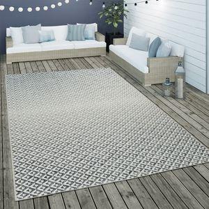 In- & Outdoor Flachgewebe Teppich Geometrisch Skandi Rauten Design In Grau, Grösse:160x230 cm