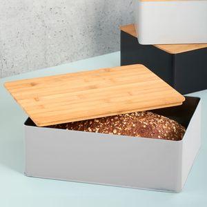 Brotbox 30x22cm mit Bambusdeckel - Grau/Natur