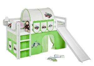 Lilokids Spielbett JELLE Trecker Grün Beige - Hochbett - weiß - mit Rutsche und Vorhang - Maße: 113 cm x 208 cm x 98 cm; JELLE3054KWR-TRECKER-GRUEN