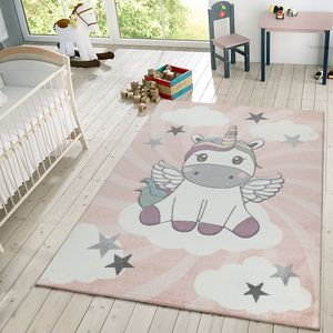 Kinderteppich Mädchen Spielteppich Niedliches Einhorn Wolken In Rosa Weiß Lila, Größe:140x200 cm