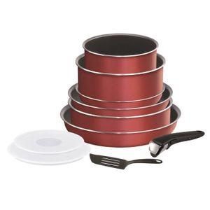 TEFAL L2369002 10-teiliges INGENIO ESSENTIAL Kochgeschirrset - Alle Kochfelder außer Induktion - Hergestellt in Frankreich - Rot