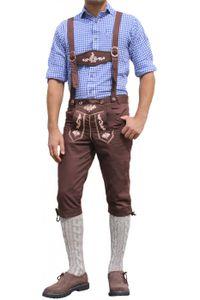 Trachten Kniebundhose Oktoberfest Jeans Hose kostüme mit Hosenträgern Braun, Größe:52/L