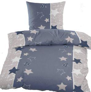 Fleece Winter Bettwäsche 155x220+80x80cm Übergröße, taubelblau grau Sterne, Microfaser, Reißverschluß