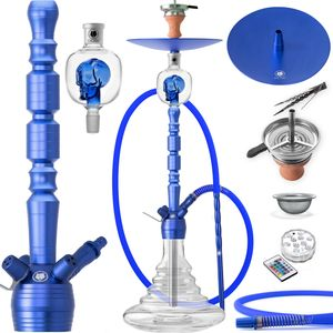 DILAW® Shisha Set OPAL Big 93cm Aluminium Alu Wasserpfeife Molassefänger Hookah + LED Licht Kaminaufsatz Tonkopf 18/8 Kopfschliff Edelstahl Tauchrohr, Farbe:Blau