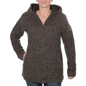 Klassische Damen Strickjacke Wolle Jacke mit Fleecefutter und Kapuze von Kunst und Magie, Größe:L, Farbe:Braun