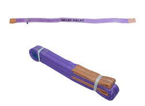 1 Tonne Tragfähigkeit 1,5 Meter Länge Hebegurt Rundschlinge Hebeband Bergegurt aus Polyster mit Endschlaufen für Kran, Abschleppen Lila