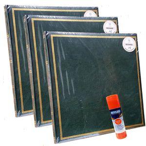 3 x Henzo Fotoalbum Buchalbum, Jumbo Classic 30 x 30 cm, grün + Klebestift