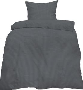 Seersucker Bettwäsche, 155 x 220 +80x80cm Übergröße, anthrazit grau, bügelfrei, uni, einfarbig, Microfaser