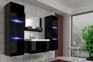 Badmöbel Set 5-Tlg Schwarz Hochglanz -Dream- inkl.Waschtisch  inkl.LED