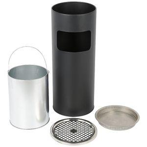 Standaschenbecher Aschenbecher Mülleimer Ascher  für draußen Mülleimer mit Aschenbecher Abfalleimer mit Inneneimer 25x25x60cm