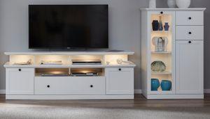 Wohnwand Baxter 3-teilig in weiß Landhaus Wohnkombination mit TV in Komforthöhe 273 x 129 cm