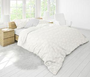 MOON-Luxury Brokat Damast Bettwäsche 135x200/80x80 100% Baumwolle Brillant YKK Reißverschluss altweiß