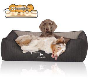 Knuffelwuff Orthopädisches Hundebett Outback aus laser-gestepptem Kunstleder M-L 85 x 63cm Schwarz/Grau