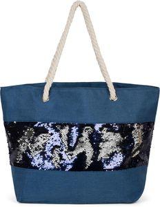 styleBREAKER Damen XXL Strandtasche mit Wende Pailletten und Reißverschluss, Schultertasche, Shopper 02012280, Farbe:Beige / Rose-Weiß