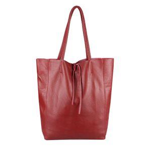OBC  Italy DAMEN LEDER TASCHE DIN-A4 Shopper Schultertasche Henkeltasche Tote Bag Handtasche Umhängetasche Beuteltasche Dunkelrot