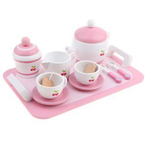 Kinder Spielküche Holz Teeservice Küchenspielzeug, inkl. Tablett, Teekanne, Tassen, Teller, Löffel usw.