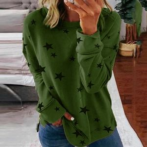 Frauen Langarm Langarm Star Print Seite Split Pullover Sweatshirt Plus Size LRR91210611 Größe:XXL,Farbe:Grün