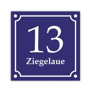 Hausnummernschild Emaille Design 20x20cm Hausnummer  verschied. Ausführungen/ Designs
