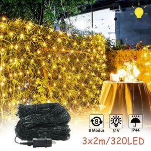 LZQ 3 x 2 m LED Lichternetz 320 LEDs Lichterkette Vorhang Lichter Netz Beleuchtung Deko Weihnachten für Innen und Außen, Halloween, Hochzeit, Party - Warmweiß, Dunkelgrün Kabel