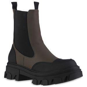 VAN HILL Damen Leicht Gefütterte Plateau Boots Profil-Sohle Schuhe 837841, Farbe: Olivgrün Schwarz, Größe: 39