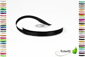 25m Rolle Satinband 6mm , Farbauswahl:schwarz 030