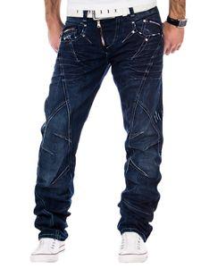 CIPO & BAXX Herren Straight Leg Jeans Dunkelblau, Größe:W29/L32